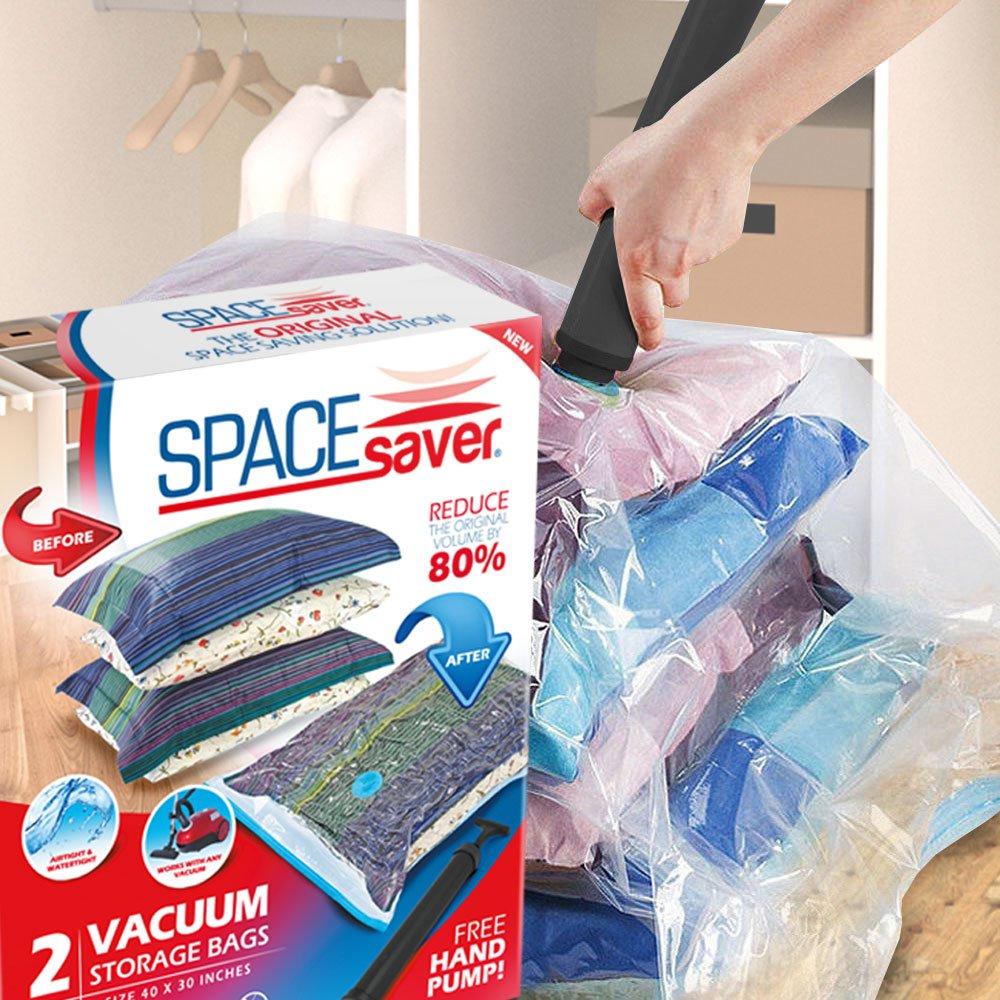 SPACESAVER Premium Jumbo Lot de 2/Sacs de Rangement sous Vide de Voyage et Pompe /à Main