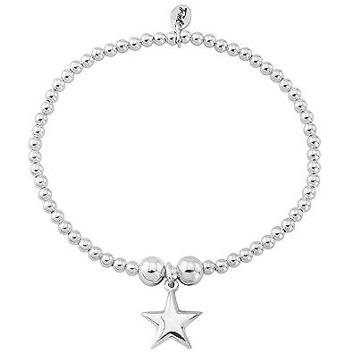 Trink Brand Puff Star Sterling Silver Beaded Charm Bracelet oXE3U1uJ