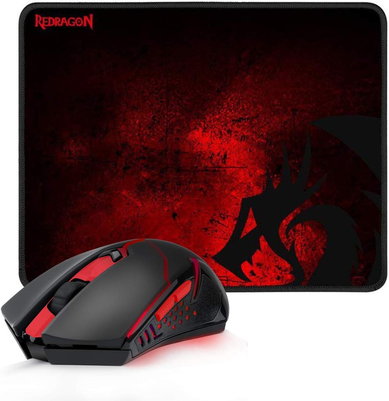 Redragon M601-WL Pack gaming Alfombrilla y ratón inalámbrico 3200 DPI, Sensor Pixart, Wireless 2.4 Ghz, Iluminación roja, mouse pad tipo speed. Combo gamer para PC y Laptop