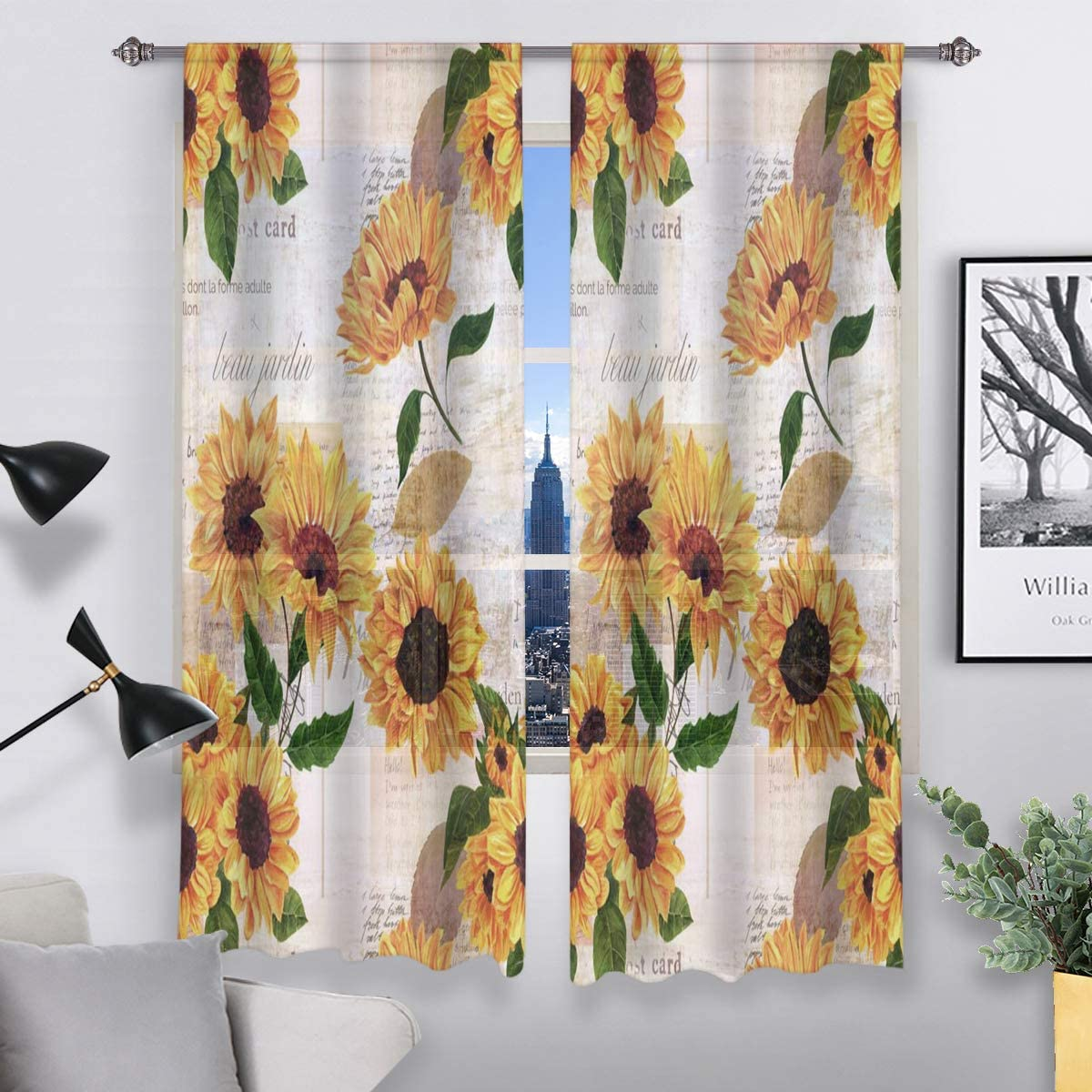 Amazon Com Qh Pretty Sunflower Window Sheer Curtains For Living Room Bedroom Kids 55 W X 78 L Set Of 2 Panels Home Kitchen