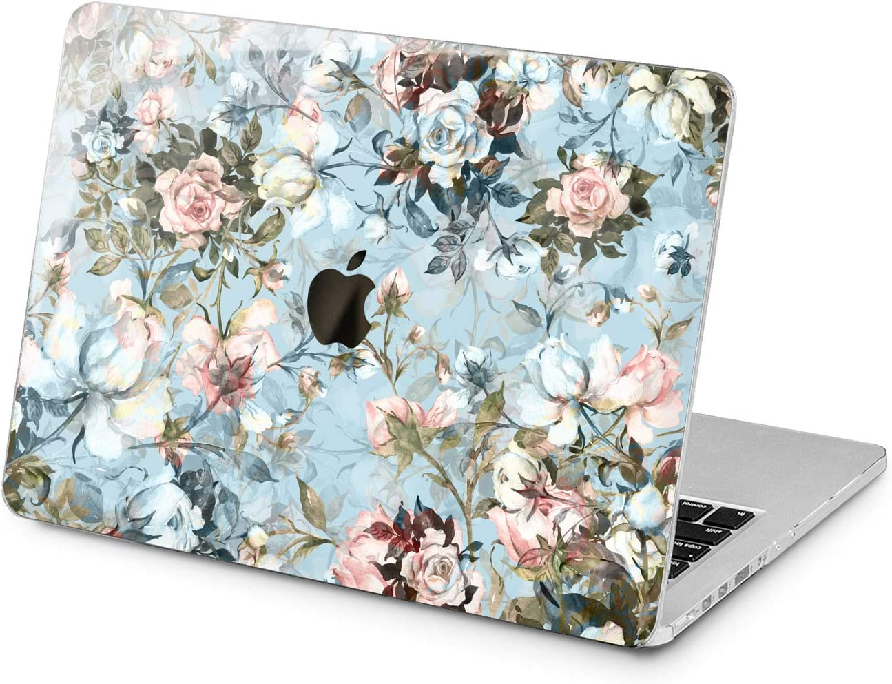 "Cavka Hard Shell Case for Apple MacBook Pro 13"" 2019 15"" 2018 Air 13"" 2020 Retina 2015 Mac 11"" Mac 12"" Watercolor Laptop Cover Spring Blossom Cute Print Plastic Aesthetic Rose Protective Blue Design"
