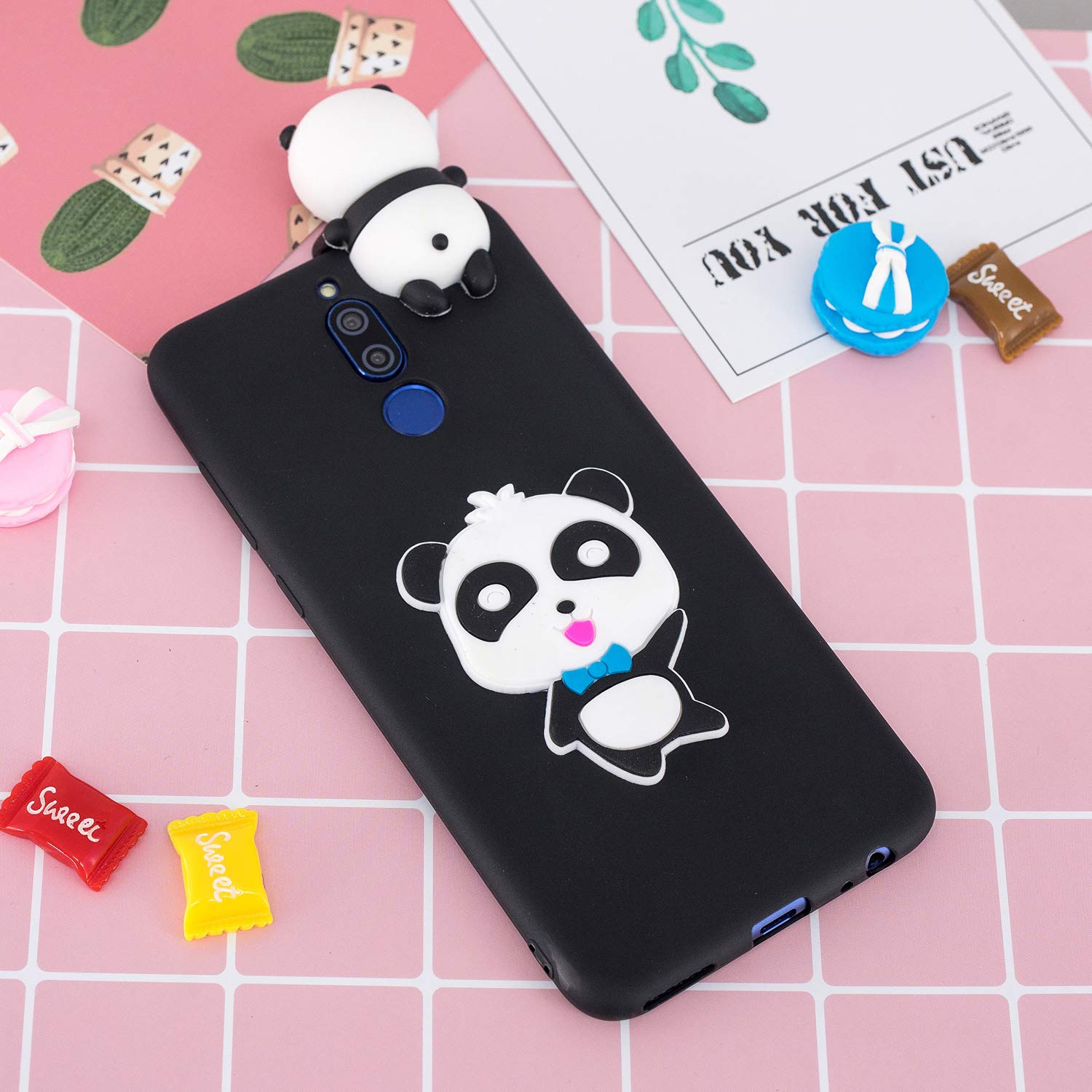 for Huawei Mate 10 Lite Silicone Case with Screen Protector,QFFUN 3D Cartoon [Panda] Pattern Design Soft Flexible Slim Fit Gel Rubber Cover,Shockproof Anti-Scratch Protective Case Bumper by QFFUN (Image #6)