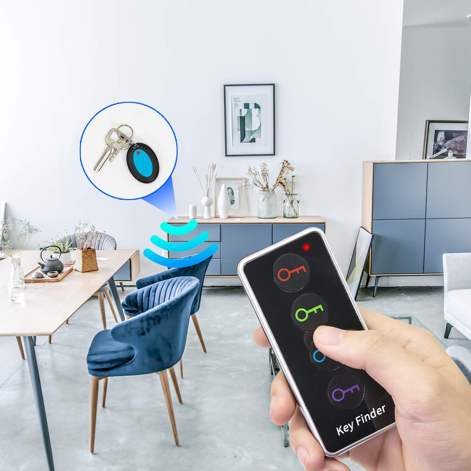 Key Finder Item Tracker Support Remote Control 100ft Range Never Lose Anything 1 RF Transmitter and 4 Receivers for Keychains Pet Tracker Wallet Tracker Car Key Chain Wireless Key RF Locator
