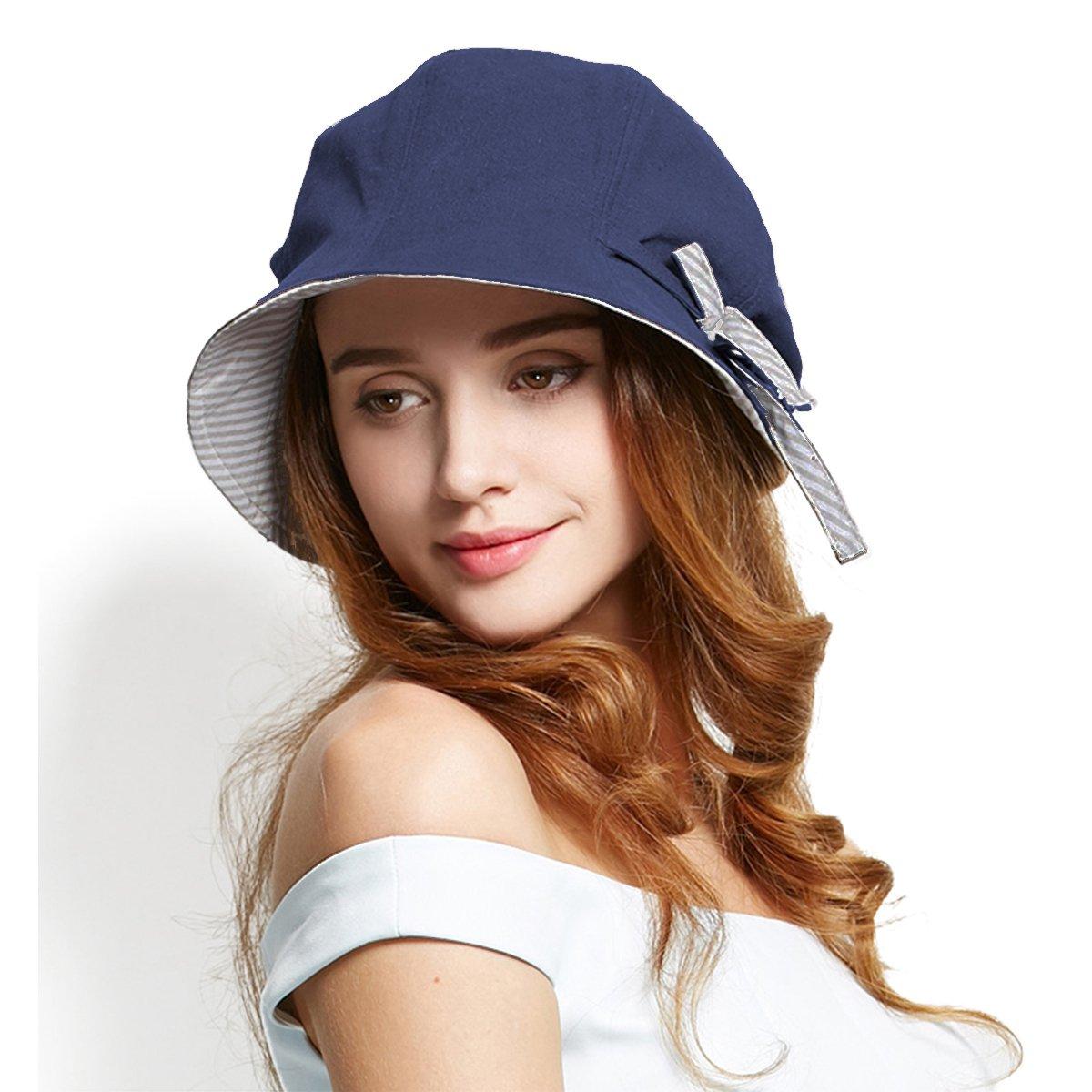 e91e692f Amazon.com: Afala Women Packable Beach Summer Hats Bucket Hats Cloche Hats,  Lightweight Foldable for Travel Vacation (Blue): Sports & Outdoors