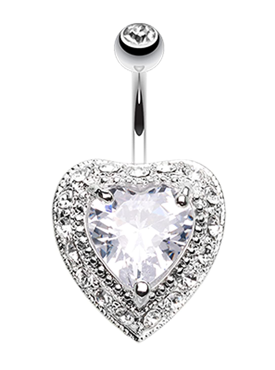 14 GA 1.6mm - Sold Individually Heart Extravagant Belly Button Ring
