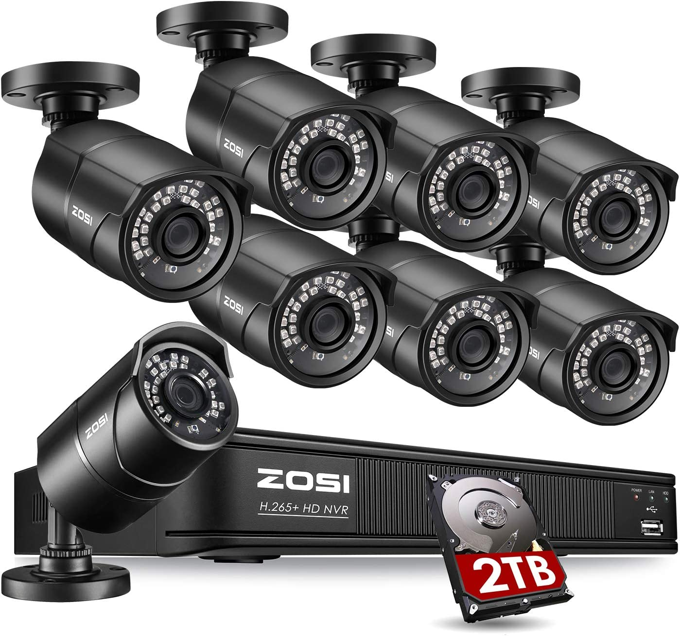 ZOSI 1080p PoE Home Security Camera System Outdoor Indoor,8CH 5MP H.265+ PoE NVR Recorder with 2TB Hard Drive and (8) 1080p Surveillance Bullet PoE Network Cameras with 120ft Long Night Vision