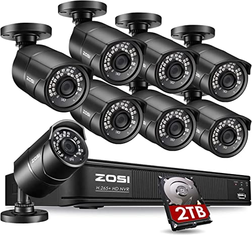 ZOSI 1080p PoE Home Security Camera System Outdoor Indoor,8CH 5MP H.265 PoE NVR Recorder