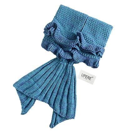 upere cola de sirena manta suave manta de punto de Crochet de Punto cola de sirena