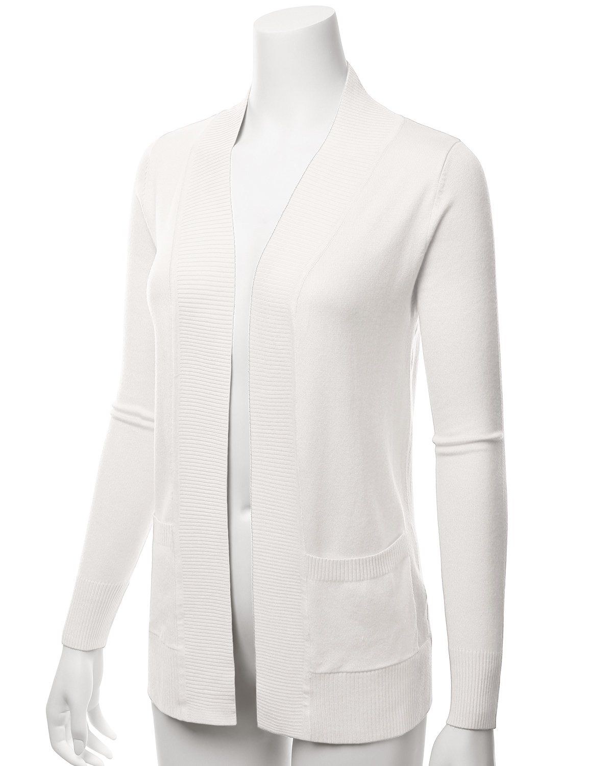 LALABEE Women's Open Front Pockets Knit Long Sleeve Sweater Cardigan-Ivory-L by LALABEE (Image #2)