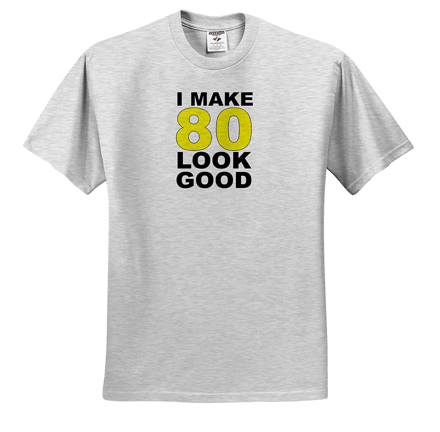 3dRose EvaDane Adult T-Shirt XL ts/_310798 Funny Sayings I Make 80 Look Good Yellow