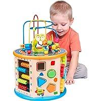 Elover WoodenActivityCube 8in1BabyBeadMazeToyMulti-purposeToysGiftsforKids Children