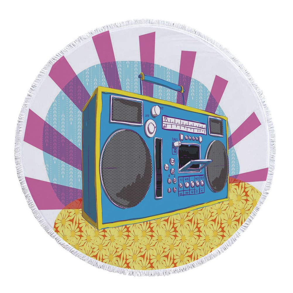 Thick Round Beach Towel Blanket,70s Party Decorations,Retro Boom Box in Pop Art Manner Dance Music Colorful Composition Decorative,Multicolor,Multi-Purpose Beach Throw