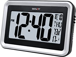 Accuon Large Atomic Radio-controlled Self-setting Digital Wall Clock with Indoor Temperature