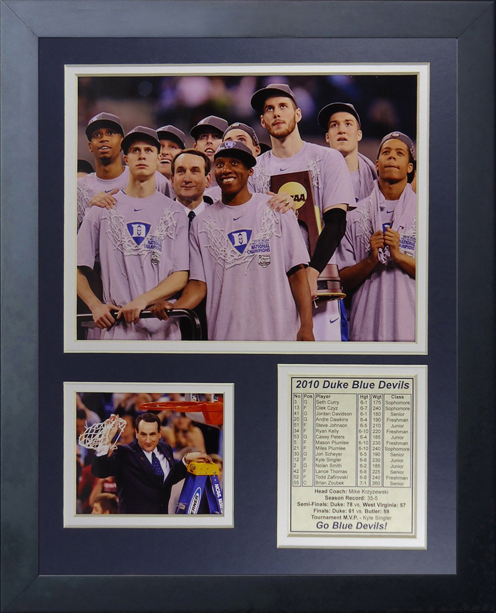 11 x 14 Legends Never Die Duke University Blue Devils 2010 National Champions Podium Collage Photo Frame