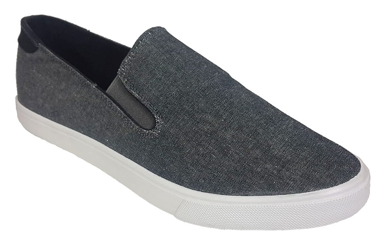 Elegant Men's Casual Canvas Charcoal Black Slip On Sneakers by Steven Ella