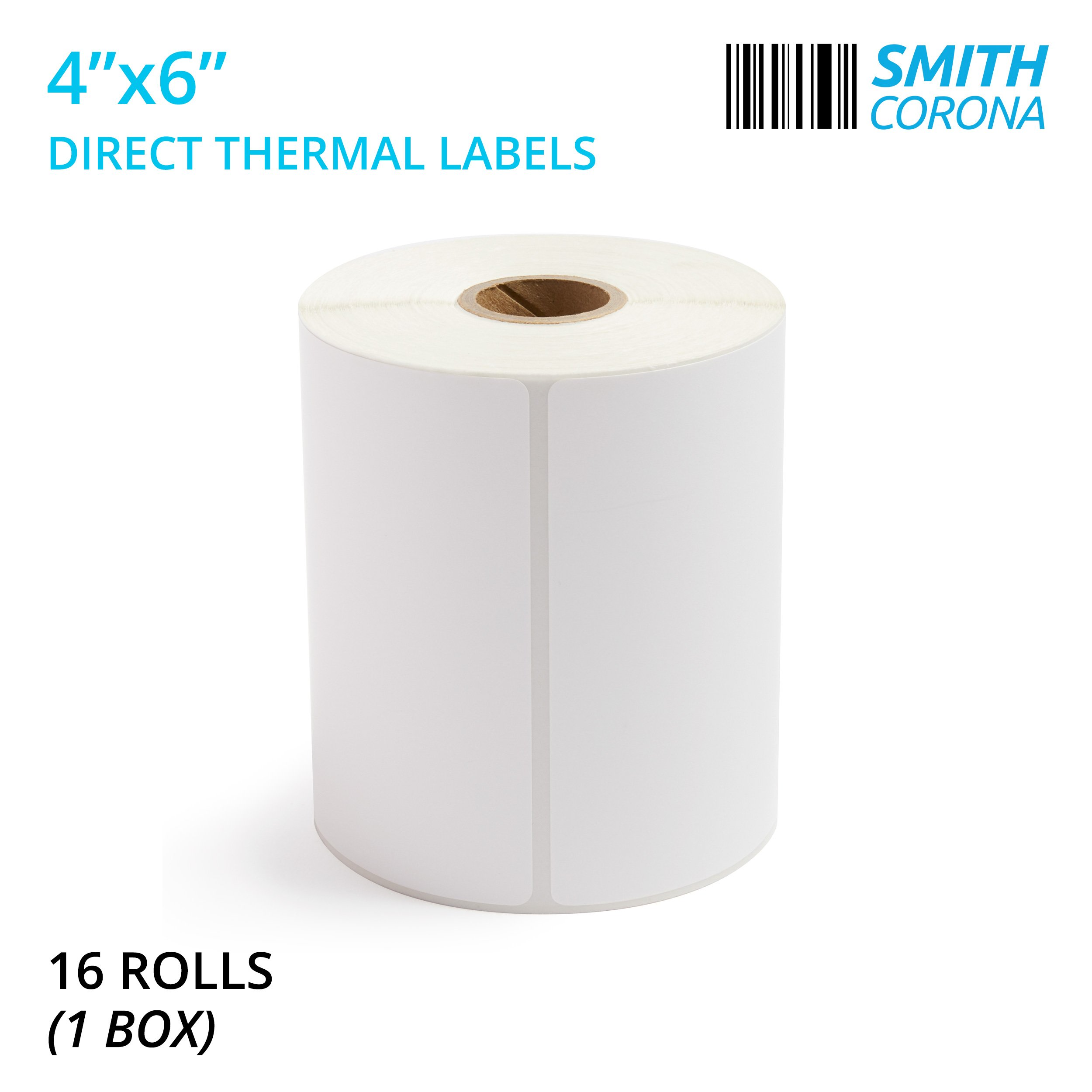 Smith Corona - 4x6 Direct Thermal Labels, 16 Rolls with 250 Labels/Roll, 1'' Core, 4000 Labels Total, Made in The USA, for 1'' Core Printers (16 Rolls) - Zebra Compatible