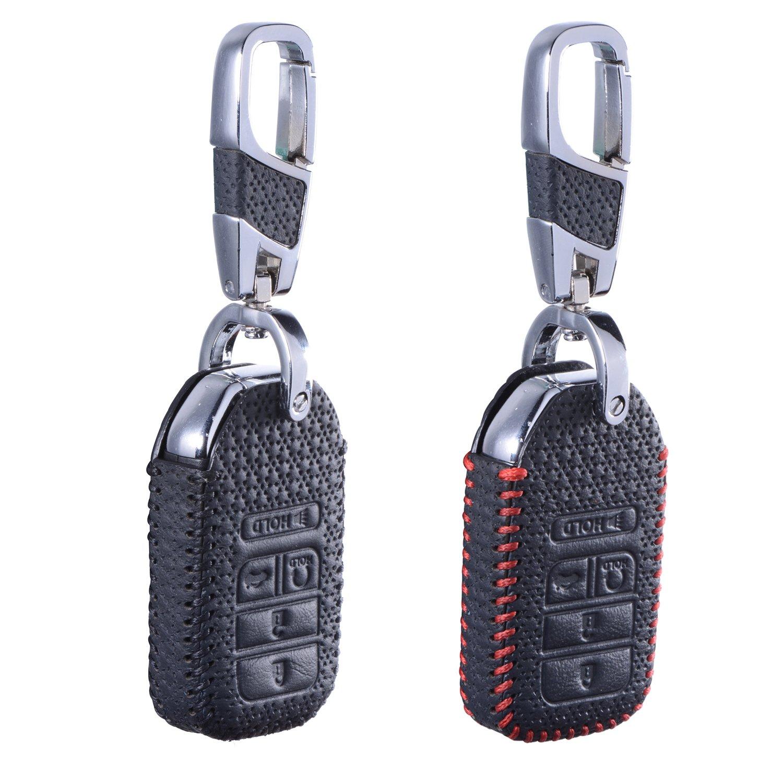 dkMuSレザーキーカバー用ホンダシビックアコードCR VパイロットFobシェルキーチェーンプレミアム品質ハンドメイド ブラック 14-06970 B079DS93SJ Luxury Black + Red Luxury Black + Red