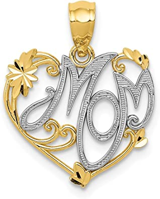 Solid Gold Chain Gift For Mom Yellow Gold Charm Necklace Natural DIamond Pendant