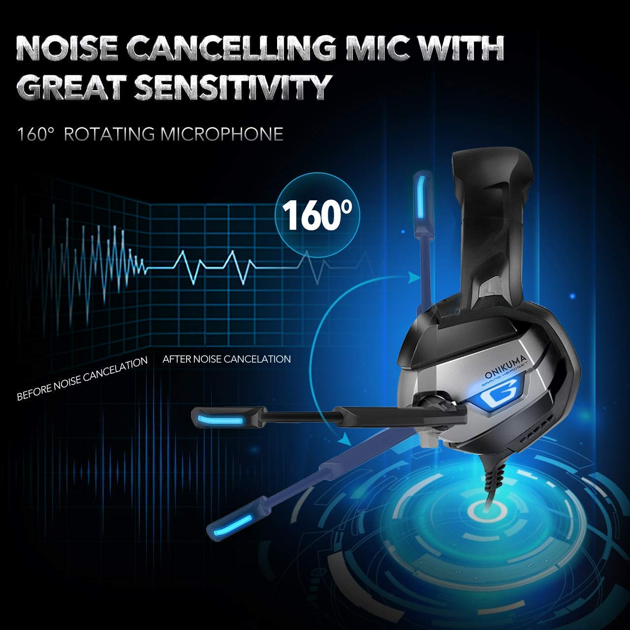 Amazon.com: BOLLAER Stereo Gaming Headset for Xbox One, PS4, PC, Enhanced 7.1 Surround Sound, Updated Noise Cancelling Mic Headphones, Soft Breathing ...