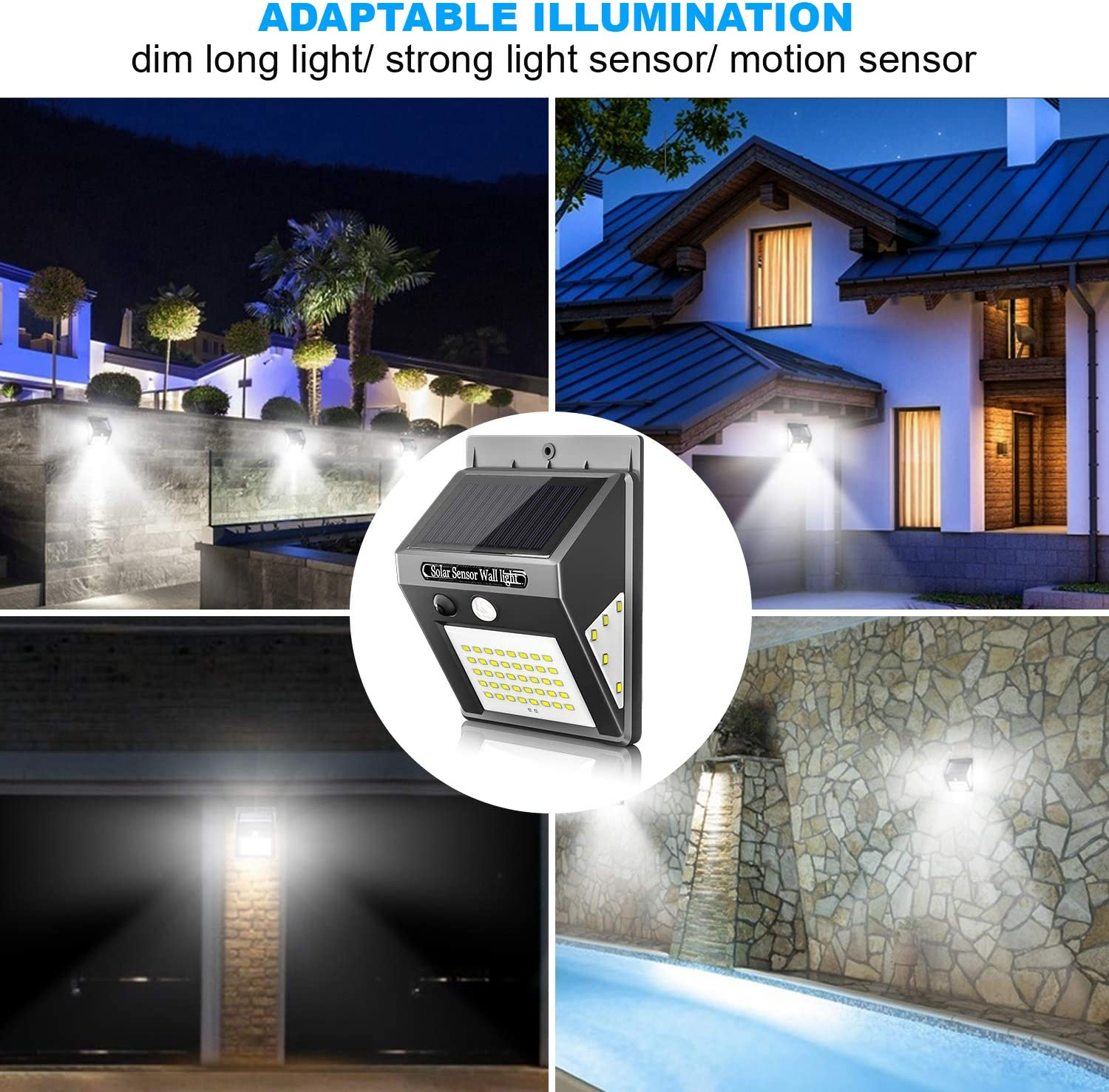 50 LED//3 Working Mode 270/° Wide-Angle Solar Motion Sensor Lights Wireless Waterproof Outdoor Lights for Garden Fence Patio Garage Pool 2 Pack Karrong Solar Lights Outdoor