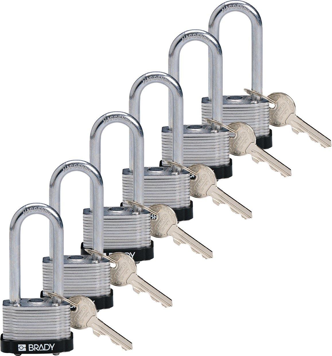 Brady 118972 Black, Key Retaining Steel PadLock - 2'' Shackle - Keyed Alike (6 Locks)