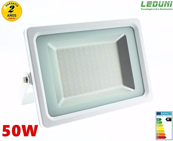 LEDUNI Foco proyector LED SMD SuperSlim 50W IP 65 acabado Blanco ...