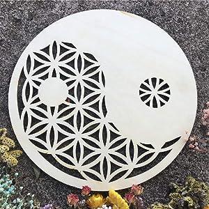 Simurg Yin Yang Flower of Life Crystal Grid Wall Hanging Decor – Taichi Wall Art & Zen Decor – Wooden Wall Sculpture