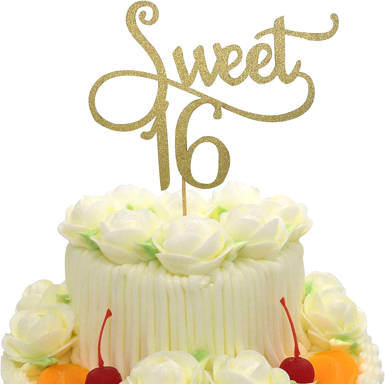 Peachy 16 Birthday Cake Topper Kootips Handmade Happy 16Th Sixteen Personalised Birthday Cards Akebfashionlily Jamesorg