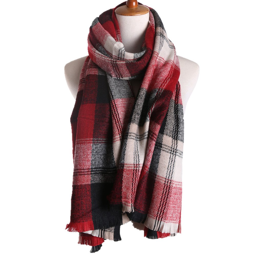 RACHAPE Women's Plaid Blanket Long Shawl Winter Warm Large Scarf Wrap A868