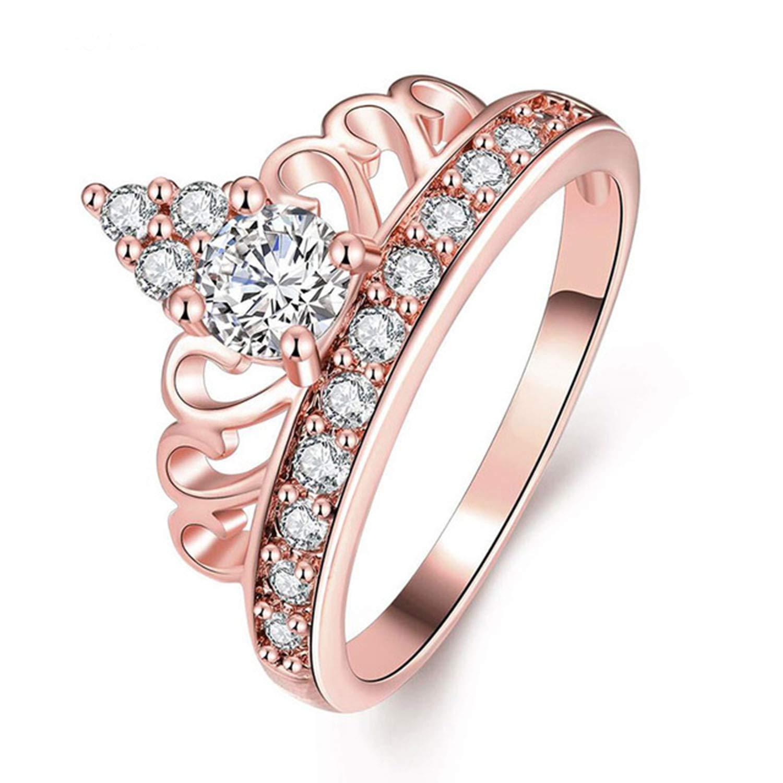 Silverraj Jewels Engagement Wedding Womens Crown Ring Fashion Jewellery 14K Rose Gold Fn CZ Stone Studdded