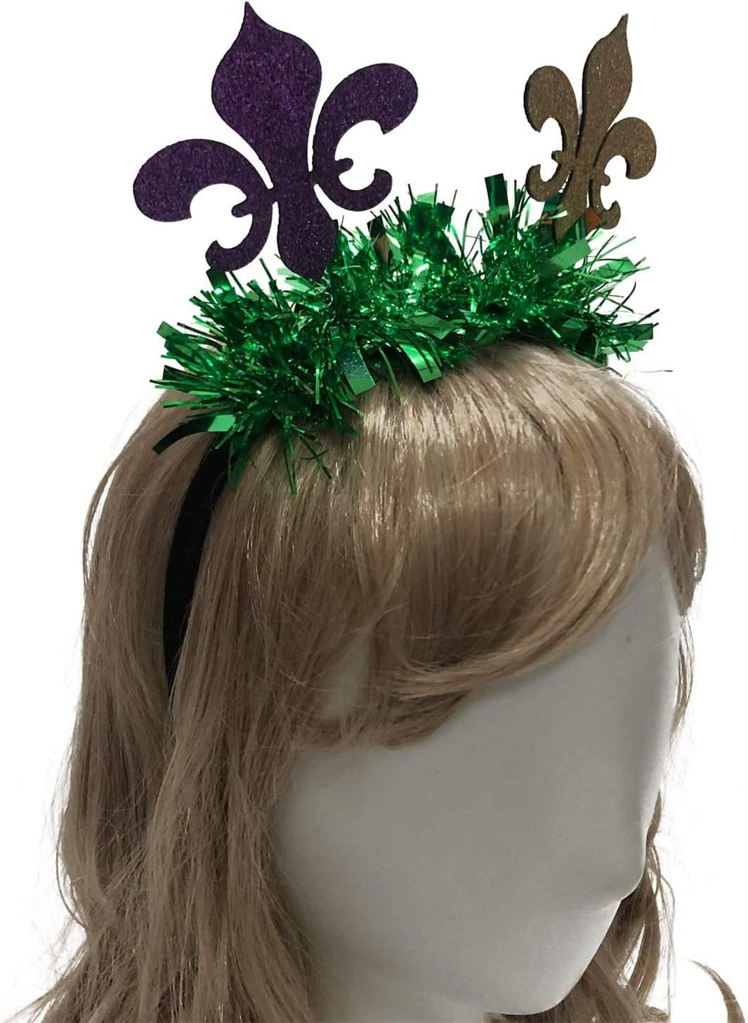 2 Pack Mardi Gras Headbands Set Party Favors,Sequin Stretchy Glitter Headbands for Carnival Party Costume