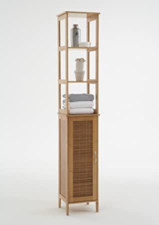 BALLA Tallboy Slimline Bathroom Cabinet Unit in Solid Bamboo ...