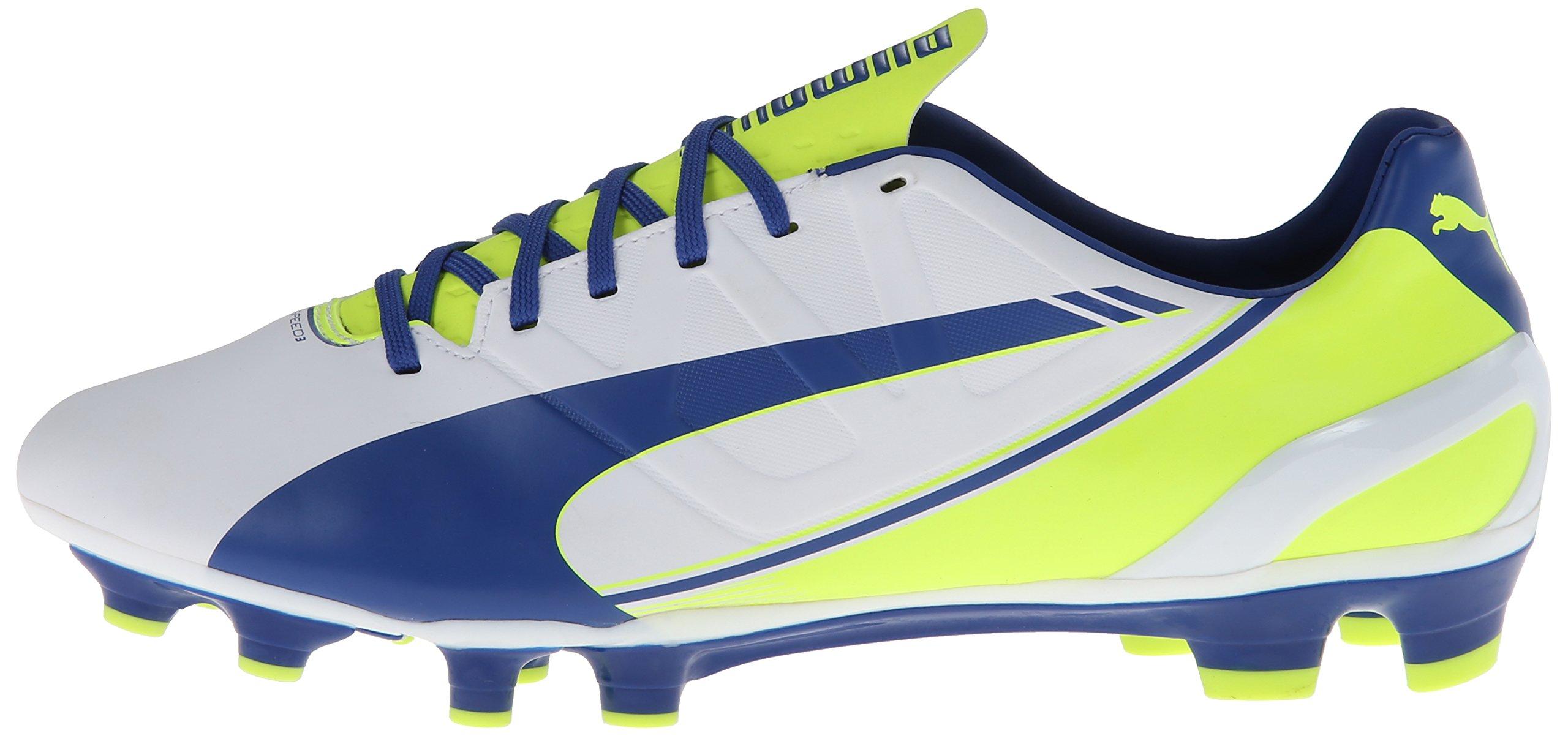 PUMA Women's Evo Speed 3.3 Firm Ground Soccer Shoe,White/Snorkel Blue/Fluorescent Yellow,8 B US by PUMA (Image #5)
