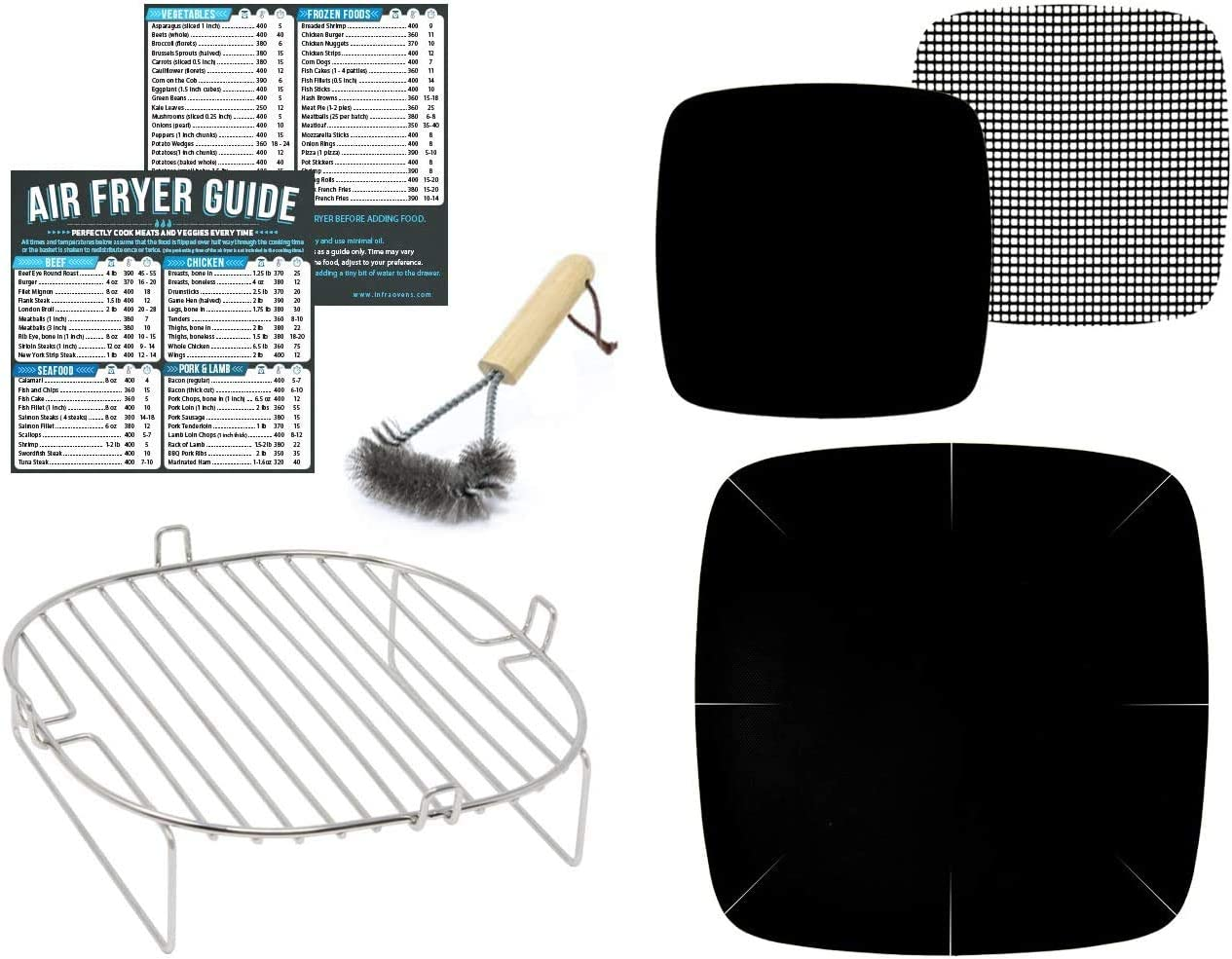 Air Fryer Accessories Compatible with Philips, Secura, Emeril Lagasse, Enklov + More | For 7 x 7 inch Square Basket | Stainless Steel Rack, Magnetic Cheat Sheet Guides and Grill Brush