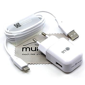 Cargador para LG MCS-H05ED + DC12WK 1,8 A 1 m para LG G5m G6, G7, Q8, V20, V30 Cable de Carga rápido con paño de Limpieza mungoo