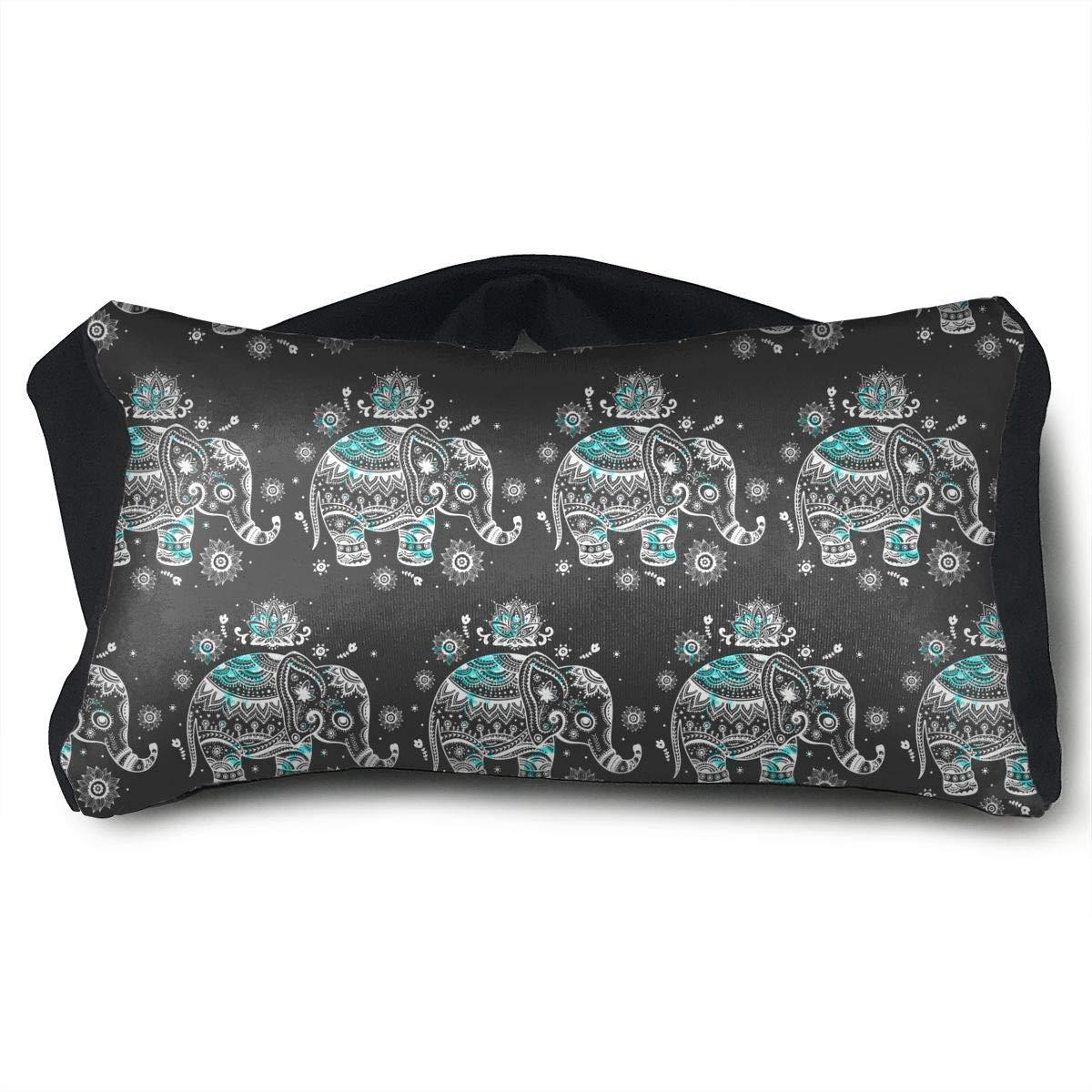 SUNNMOON Fashon Animal India Elephant Collage Neck Travel Pillow and Eye Mask Compact Versatile and Pillow for Airplanes, Travel Pillow and Eye Mask Washable Pillows