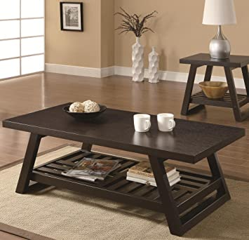 Amazoncom Coaster Home Furnishings  Casual Coffee Table - Cappuccino coffee table