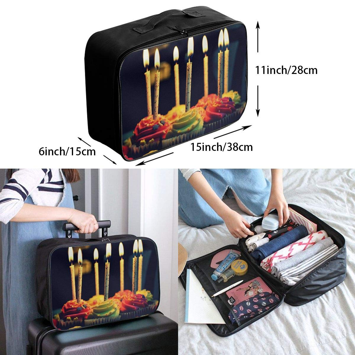 Travel Luggage Duffle Bag Lightweight Portable Handbag Cupcake Large Capacity Waterproof Foldable Storage Tote