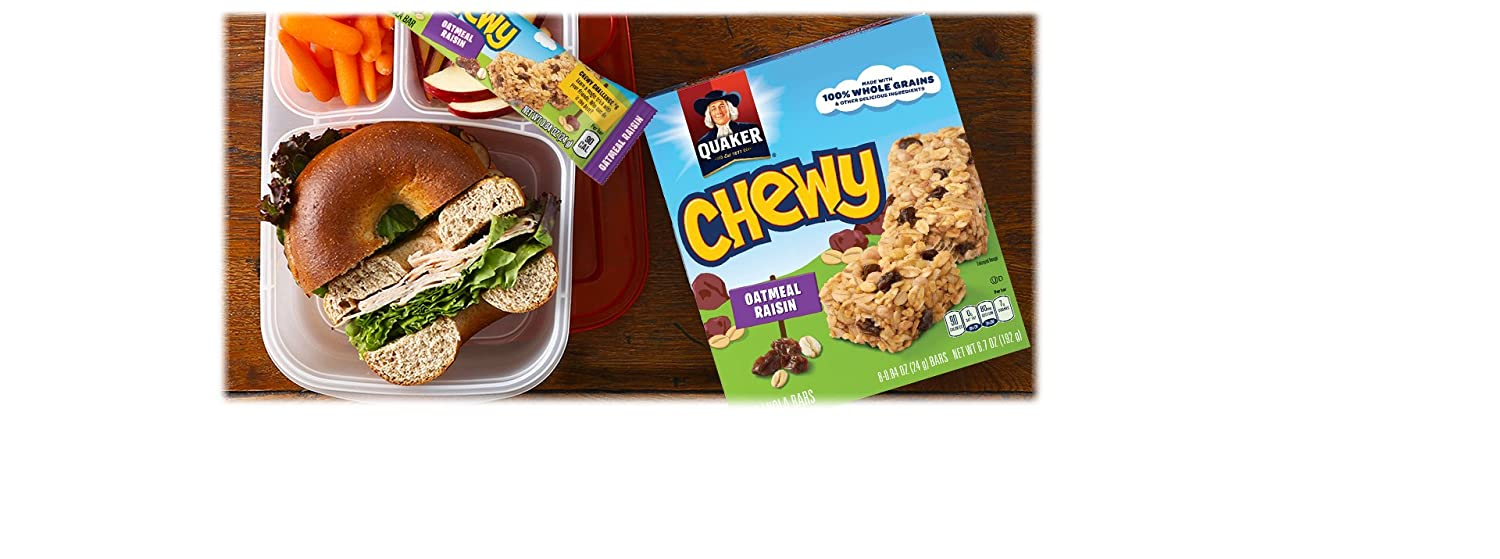 Quaker Chewy Granola Bars, Oatmeal Raisin, 90 Calories, Low Fat,.84 oz 8 count (Pack of 6) (Packaging may vary)