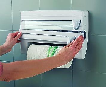 Montado en la pared blanco papel Film de cocina dispensador toalla rollo de soporte de aluminio y cortador: Amazon.es: Hogar