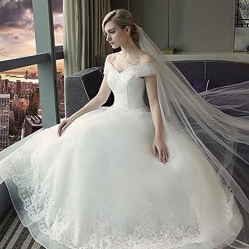 LJF Vestido de Novia Vestido de Novia Vestido de Encaje Vestido de Novia Coreano,Blanco