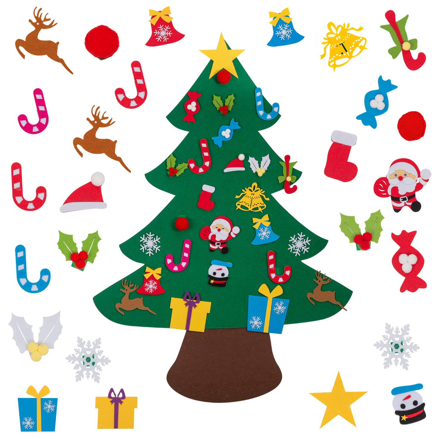 AMASKY Felt Christmas Tree, 3.35ft DIY Christmas Tree with 26 Pcs Xmas Gifts Santa Claus Ornaments Wall Decor with Hanging Rope for Home Door Decoration