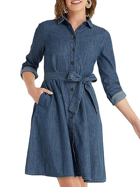 61575a3c Draper James DRD0429 Chambray Shirt Dress in Medium Wash at Amazon Women's  Clothing store:
