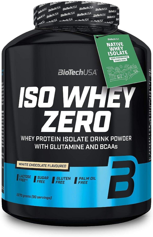 BioTechUSA Iso Whey ZERO, Lactose, Gluten, Sugar FREE, Whey Protein Isolate, 2.27 kg, Chocolate blanco