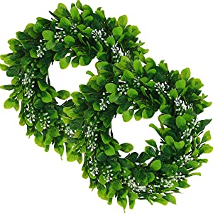 UltraOutlet 2 Packs Artificial Eucalyptus Wreath 12 Inches Greenery Leaves for Door, Window, Wall, Wedding Party, and Home Decoration