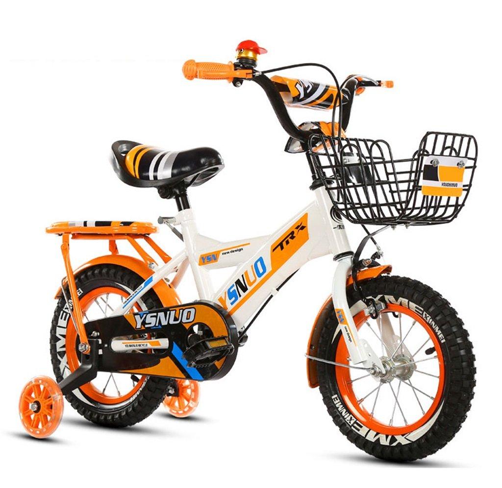 子供の自転車12|14|16|18インチアウトドアの子供ベイビーキッドマウンテンバイクフラッシュトレーニングホイールで2歳から10歳の男の子の女の子の贈り物|アイアンバスケット|スポンジ背もたれセーフロード50KG B0789H8QFP 12インチ|オレンジ オレンジ 12インチ