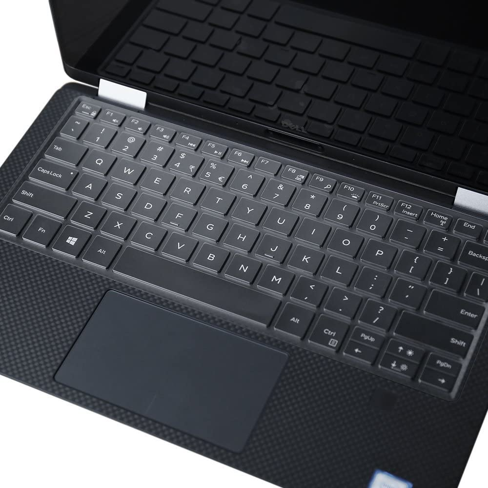 Leze - Ultra Thin Clear Keyboard Cover Skin for Dell XPS 13 9365 9370 9380 13.3-Inch 2 in 1 Ultrabook Laptop - TPU