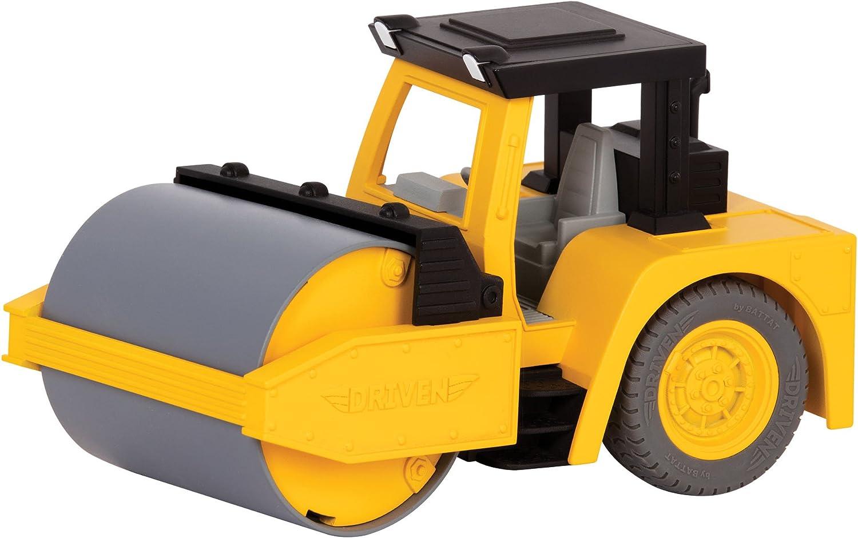 DRIVEN by Battat WH1015Z Micro Steam Rodillo de Servicio Pesado, luz y Sonido, Camiones y Juguetes de construcción para niños a Partir de 3 años, Nailon/A