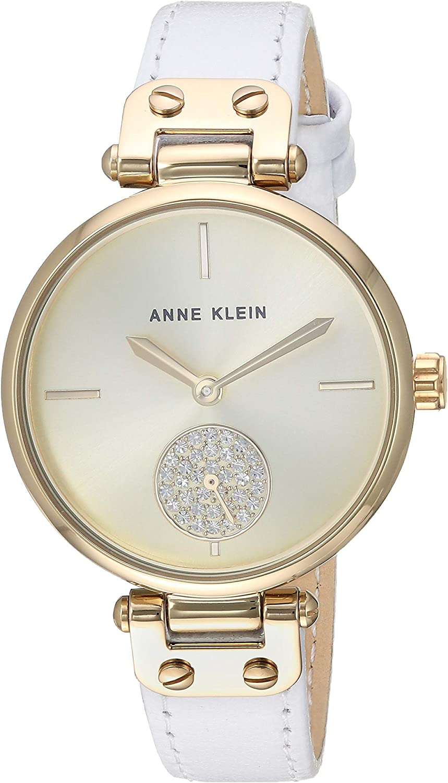 Anne Klein Women's Swarovski Crystal Accented Leather Strap Watch