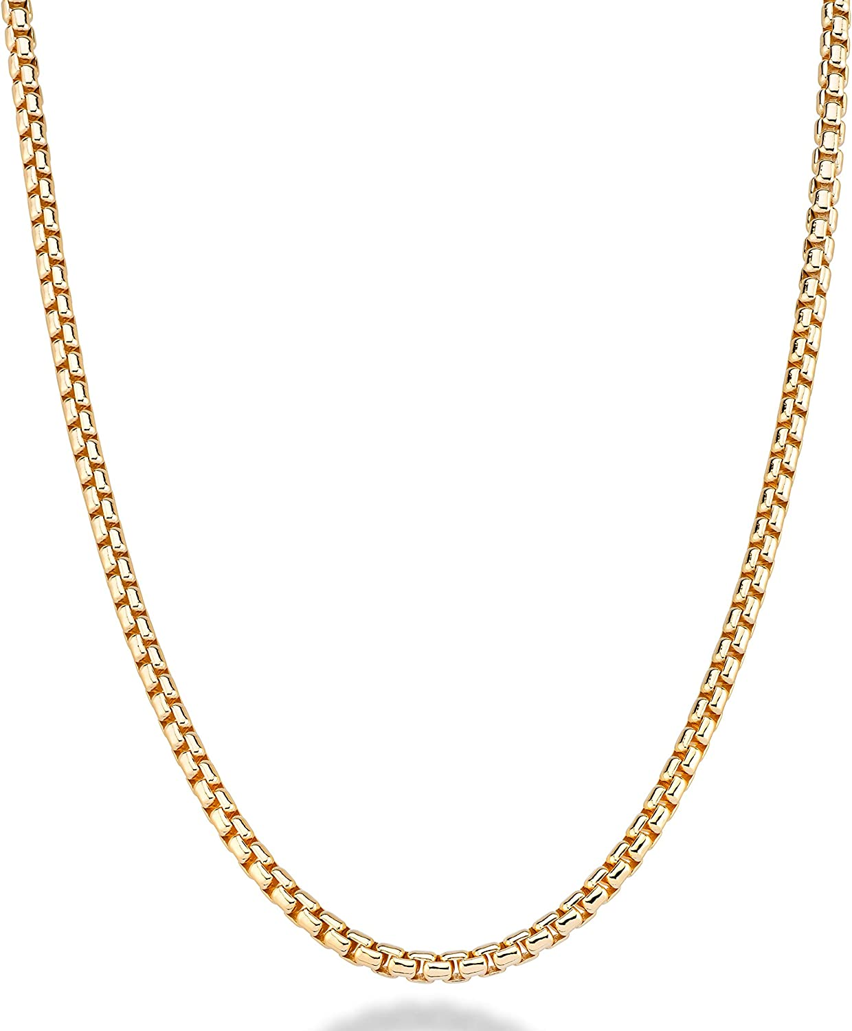 Miabella Solid 18K Gold Over Sterling Silver Italian 3.5mm Square Rolo Link Round Box Chain Necklace for Men Women 16, 18, 20, 22, 24, 26, 30 Inch 925 Made in Italy